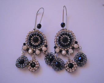 long earrings black, gray and cream