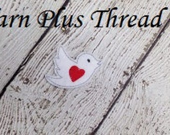 Bird With Heart Feltie Embroidery Design