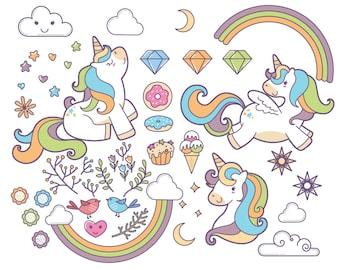 20% OFF Unicorn clipart, Fabolous majestic unicorn, colorful, kids invitation, rainbow unicorn, Instant Download PNG file 300 dpi