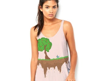 Animated Tree Women's Novelty Scoop Neck, Flowy Tank with Side Slit with Unique Design