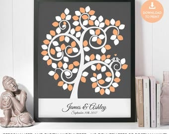 Silhouette Wedding Tree with Signature Leaves, Signature Tree Lovebirds, Silhouette Guest Book Signature Tree, Wedding Signature Tree, Love