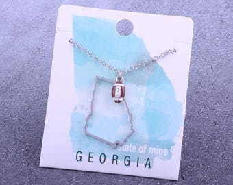 Customizable! State of Mine: Georgia Football Enamel Necklace - Great Football Gift!