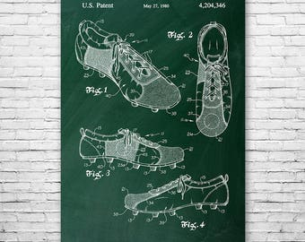 Soccer Training Shoe Poster Patent Art Print Gift, Soccer Poster, Soccer Wall Art, Soccer Shoe, Football Shoe, Cleats Patent, Soccer Gift