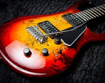 Custom Built Blood-burst Flaxwood Electric Guitar