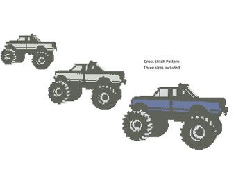 Monster Truck Cross Stitch Pattern,  Counted Cross Stitch, Monster Truck Pattern, XStitchEverything, Cross Stitch Monster Truck