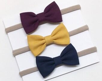 Baby Headband Bows - Plum, Mustard, Navy - Baby Headband - Clips or headbands
