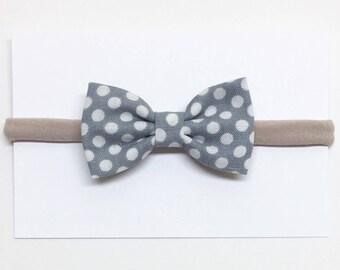 Baby Girl Hair Bows - Gray Polka Dot - Hair Bows - Clips or headbands