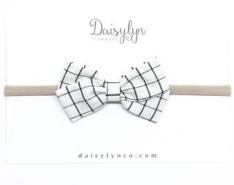 White Plaid Bow - White Grid - Plaid Bow - Clip or Headband