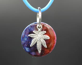 Marijuana Charm Jewelry Stretchy Silicone Silkies Alcohol Painted Washer Necklace