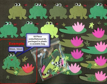 Embellishment 8 frog, 8 lilly pad, 8 flower, 16 googly eyes 16 mini frogs Kit
