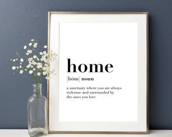 Home Definition, Home Decor, Living Room Decor, Definition Print, Housewarming Gift, Dictionary Art Gift, Bedroom Decor, Wall Art