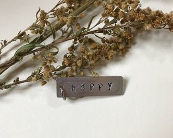 Happy metal stamped necklace