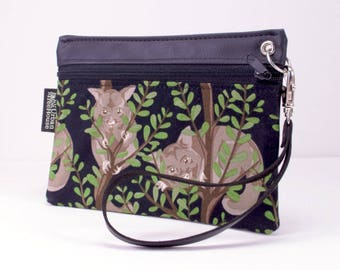 Possum zippered pouch. Vegan coin purse. Phone wristlet. Travel wallet.Vinyl clutch with removable strap. Australian souvenier.