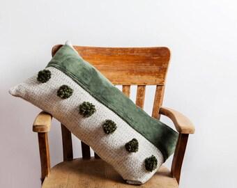 Green Pom Pom Pillow, Green, Green Pillow, Pom Pom Pillow, Pine Green Pillow, Upholstery Pillow, Fur Pillow, Bolster Pillow, Designer Pillow