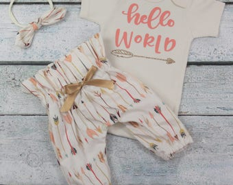 newborn girl coming home outfit/baby girl/hello world/arrow