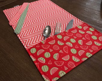 MELON (WATERMELON) / rolled napkin, Pocket tools, portable placemat, for school, for work, doily for lunch box!