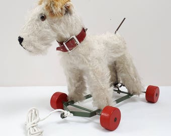 Vintage Toy Dog Fox Terrier on Wooden Wheels Pull Along articulated Tail 30s/40s