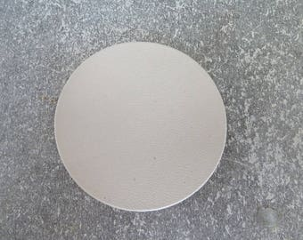 large round 6,5 cm thin leather beige ecru for creation and customization