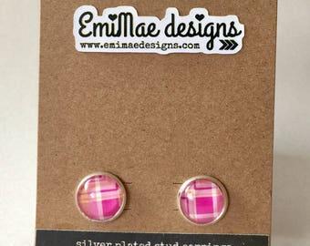 Preppy Pink Plaid stud earrings