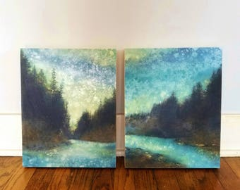 SET of TWO Forest Rain Paintings, limited edition prints on panels, Cascades, Mt Hood, Oregon art