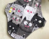 "8"" Pantyliner Cotton Flannel Gray and White Cats Print with Black Micro Fleece Backing"