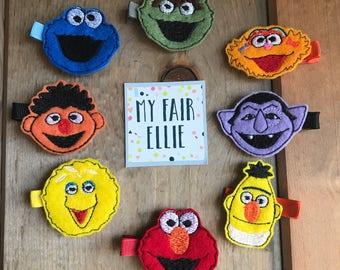 Sesame Street Hair Clips - Sesame Street Felties - Sesame Street Bows - Elmo Hair Clip - Cookie Monster Hair Clip - Big Bird Hair Clips