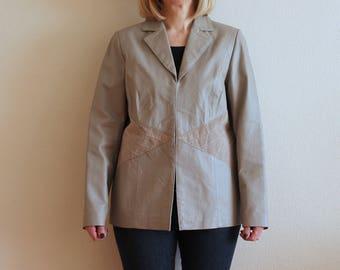 Gray Leather Jacket Vintage Leather Jacket 80s Women's Leather Jacket Grey Cardigan Leather Cardigan  Hippie Medium to Large Size