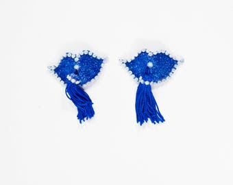 Blue Glitter Lips Pasties, Blue Glitter Pasties, Blue Nipple Tassels, Blue Lips Nipple Tassels, Blue Lips Burlesque Pasties