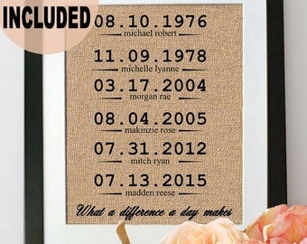 ON SALE What a Difference a Day Makes FRAMED Burlap Print/ Anniversary Gift/ Important Dates Sign/ Special Dates Print/ Family Birthdates Si