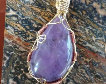 Purple amethyst pendant wire wrap