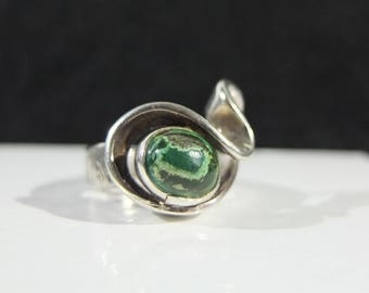 Vintage Sterling Silver and Eilat Stone Wave Ring