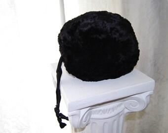 Vintage Winter Black Fur Muff