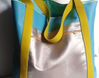 beach bag tote for a summer blue leatherette