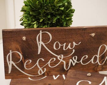 Row Reserved wedding sign. Reserved sign. Wedding prop. Wedding sign. Wood sign. Reserved wood sign. Wedding decor.