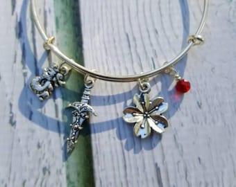 Mulan Inspired Jewelry, Princess Jewelry, Warrior Woman Jewelry, Gifts for Women, Free Shipping, Charm Bracelet