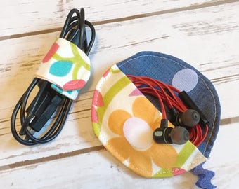 Fabric Cord Keepers, Set of Two, Phone Accessories, Cord Organizers, Earbud Holder, Fabric Cord Keeper, Cord Organizer Set, Under 10 Gift