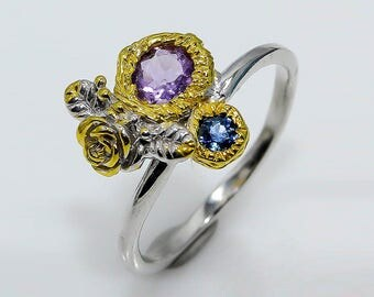 Purple Amethyst Ring, Sapphire Ring, Modern Ring, Botanical Ring, Floral Ring, Rose Flower Ring, Delicate Ring September February Birthstone