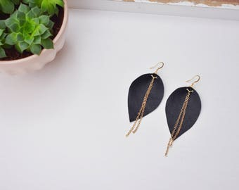 Leaf-Shaped Black Leather Earrings with Gold Chain