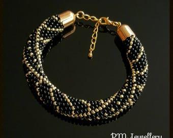 Handmade crochet bracelet Preciosa Czech glass seeds beads
