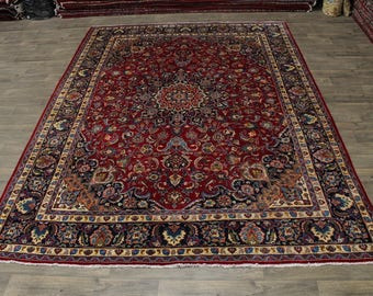 Beautiful S Antique Handmade Plush Mashad Persian Area Rug Oriental Carpet 10X13