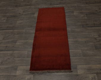 Plain Design Narrow Runner Gabbeh Modern Persian Rug Oriental Area Carpet 2X6