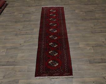 Fine Hand Knotted Tribal Runner Turkoman Persian Area Rug Oriental Carpet 2ʹ5X9