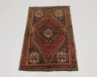 Tribal Hand Knotted Handmade Shiraz Persian Wool Rug Oriental Area Carpet 4X6