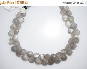 """50% OFF 105 Ct.Gray Moonstone Faceted Heart Shape Briolette , 8"""" Strand - Grey Moonstone Faceted Heart Beads , 8x8 - 9x9 mm , BL438"""