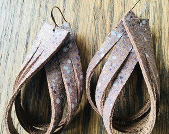 Bronze Speckle Fringed Leather Teardrops
