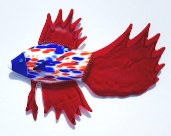 """Fused Glass Betta Fish Wall Art - """"SPIRIT"""""""