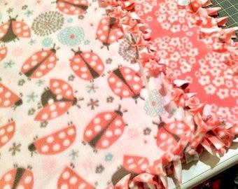 UR ONE Little Lady! Handmade fleece blanket designed by JAX. A ladybug & flower garden themed throw makes an amazing custom gift idea!
