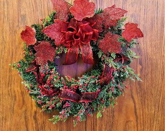 Wreath with Berries Sparkles Glittering Leaves Holiday Decor Christmas Decor Faux Wreath Indoor Office Wreath Free Shipping