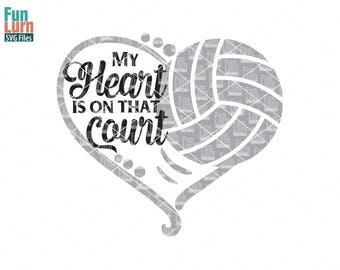 My heart is on that Court, Volleyball heart SVG,  Love my Player, Heart, ball , Volleyball SVG, svg png dxf eps zip, svg file