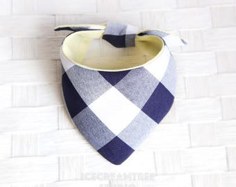 Tie on Modern Pet Bandana Scarf, Pet Fashion Scarf, Dog Bandana Scarf, Cat Bandana Scarf - Navy Gingham - Icecreamtree Studio